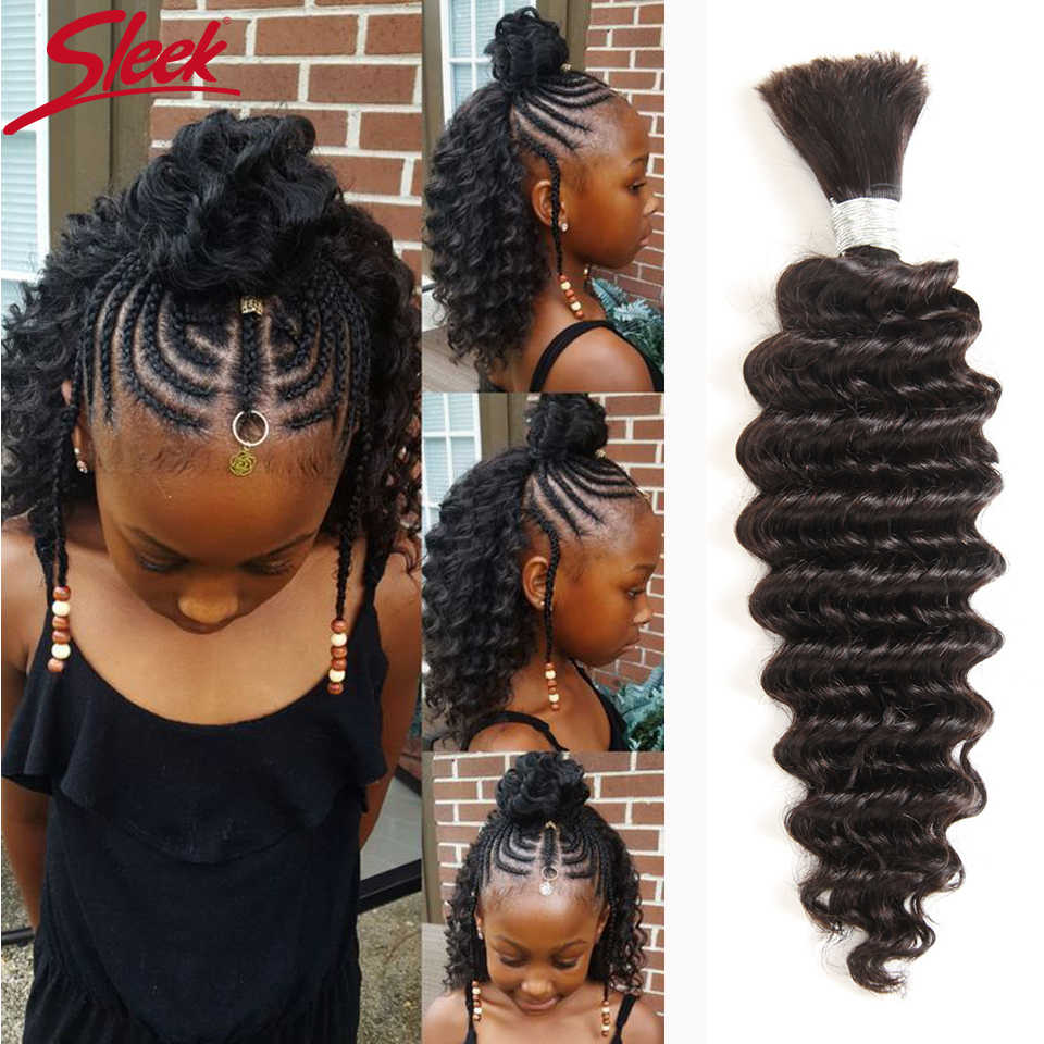 Sleek Natural Color No Weft 1 PC Brazilian Deep Wave Human Braiding Hair Bulk Remy Crochet Braids Human Hair Can Be Dyed
