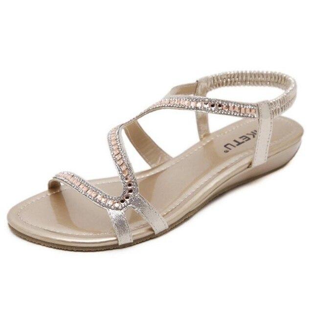e76ec9f3fda639 New Designer diamond design Female Summer Sandals Rhinestone Wedges Fashion  Large Size 35-42 Women Sandals