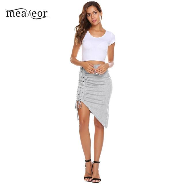Meaneor Casual Crossing Side Elastic High Waist Women Straps Package Hip Sexy Summer