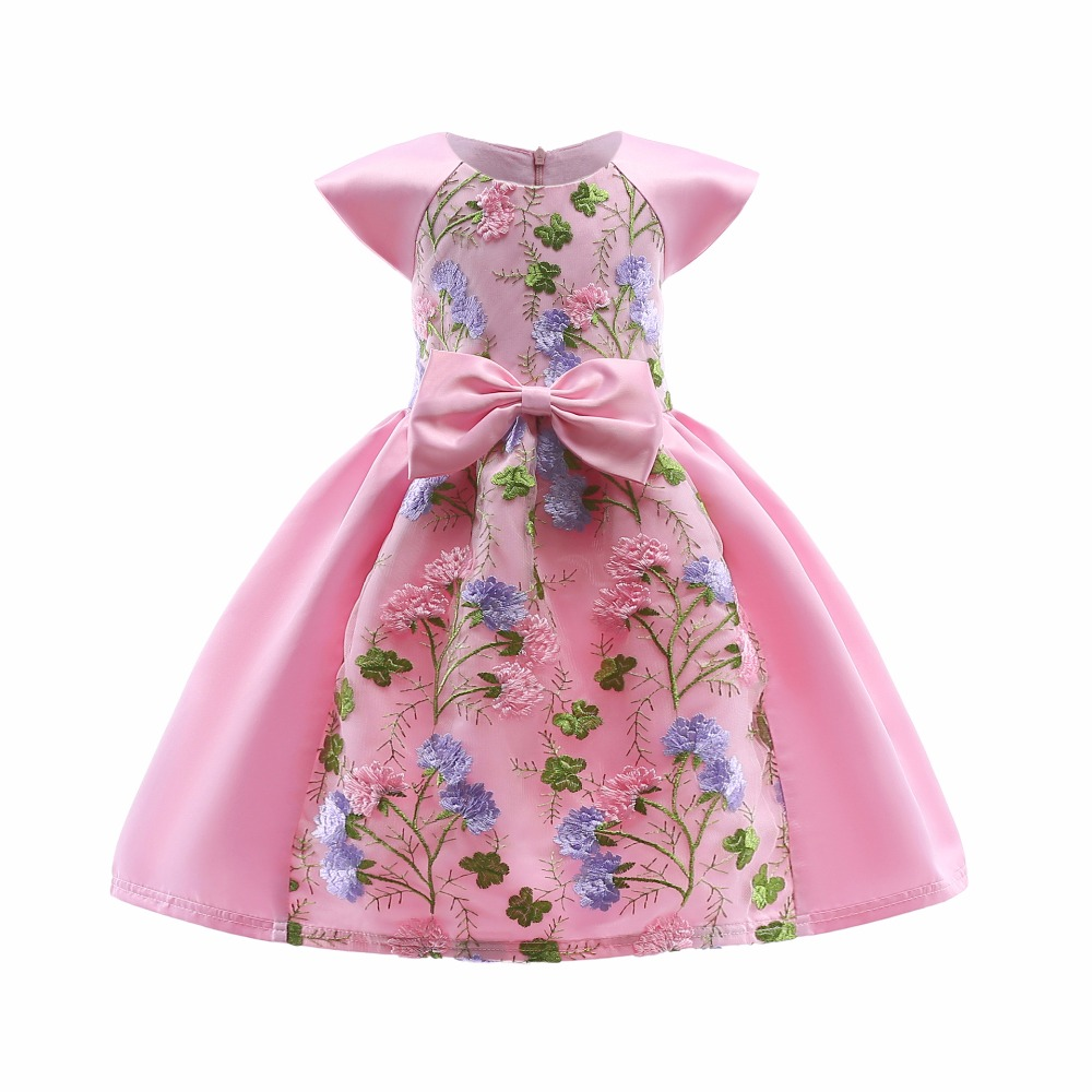 summer 2018 Hot Sale Bow Striped Princess pink Girls Baby Reception ...