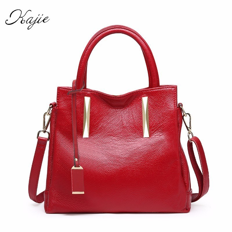 Kajie Really Genuine Leather Bag Female Famous Luxury Designer Brand Bags Women Real Cowhide Handbags High Quality Shoulder Bags american luxury genuine leather women shoulder bag fashion brand designer cowhide women real leather women bag gifts for mother