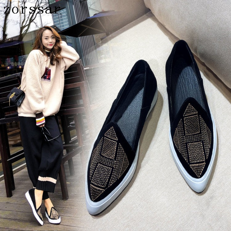 Zorssar daim cuir été mocassins femmes mocassins chaussures décontractées doux bout pointu chaussures pour dames femmes appartements plate-forme chaussures