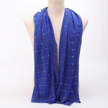 Шифоновый мусульманский хиджаб шарф с блестками тюрбан изысканный