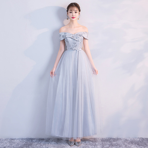 Image 3 - Bruidsmeisje Jurk Lange Grijs Kleur Jurk Wedding Party Dress Borduren Floor Lengte Jurk Terug Van Bandage Vestido Sexy Prom