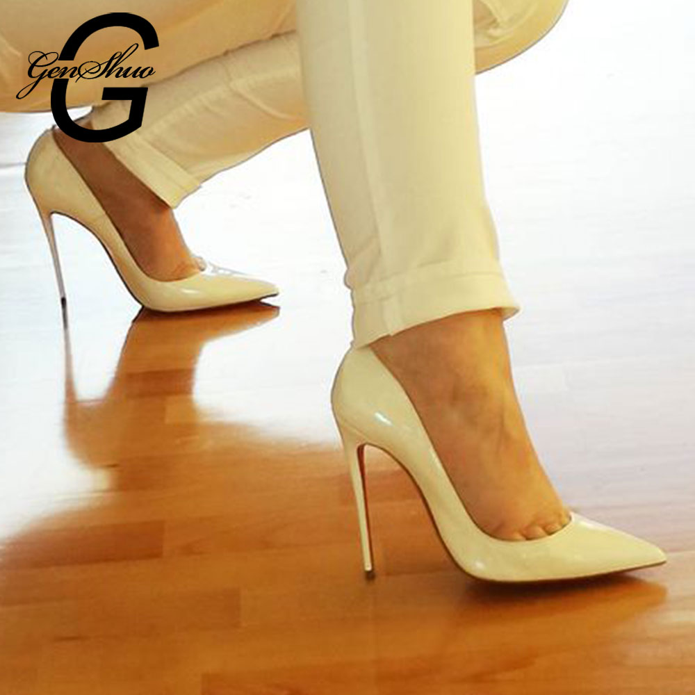 GENSHUO White High Heel Stiletto Women Shoes Zapato De Mujer Tacon Shoes Woman Thin Heels Pointy Shallow Pumps For Party Wedding