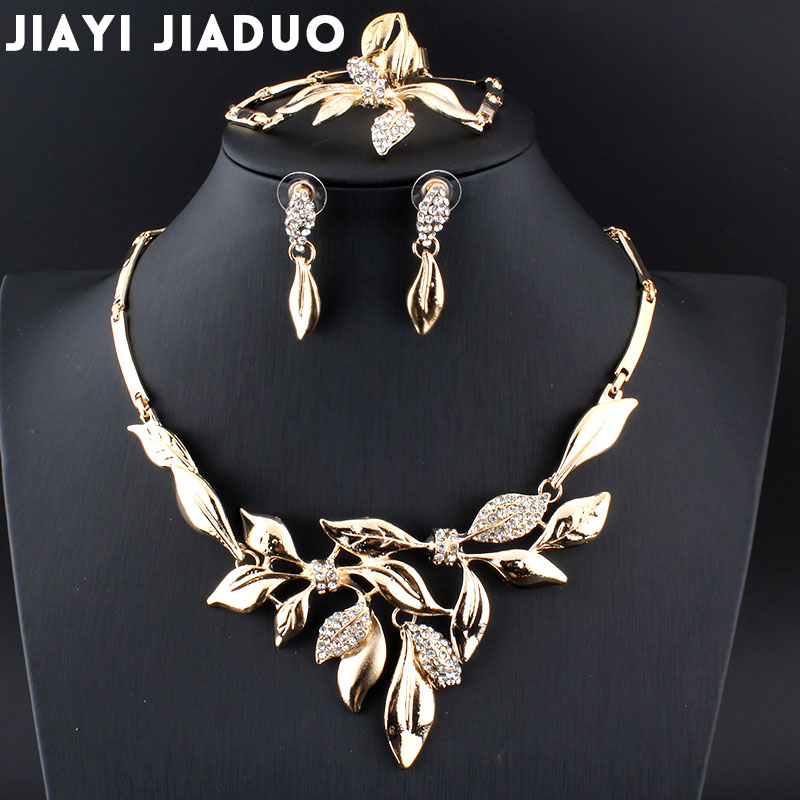 Jiayijiaduo 2017 Indien Charme Blume Sätze Von Schmuck Für Frauen Silber Farbe Strass Halskette Hochzeit Haar Zubehör Schmuck & Zubehör Hochzeits- & Verlobungs-schmuck
