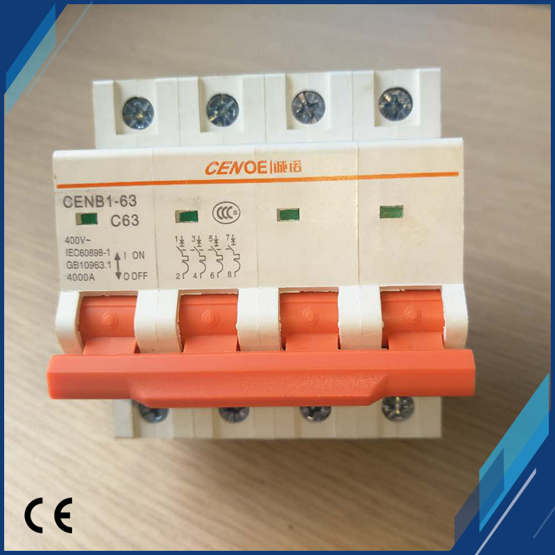 Newly high end main switch function 63A 440VAC 4P miniature circuit breaker 63A with line overload and short circuit protection