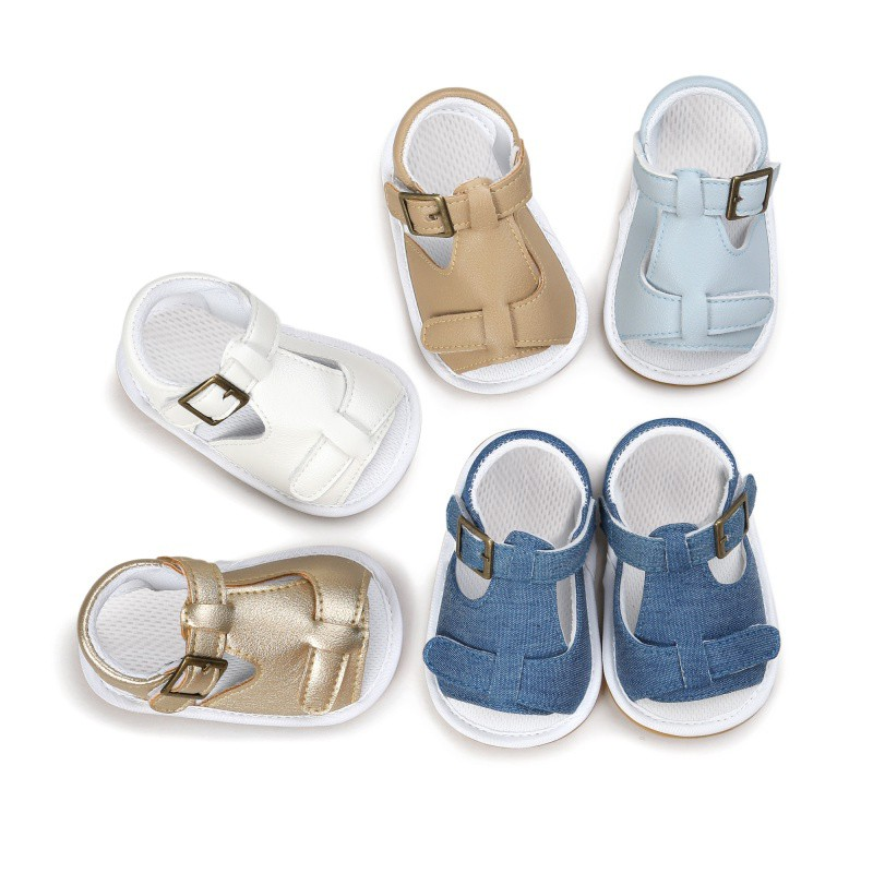Summer BabyToddler Newborn Baby Shoes Kids Crib Baby Soft Rubber-soled Baby Shoes Outdoor Shoe Buckle