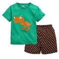 Camiseta verde Dino Estrella Niños Pantalones Cortos de Verano Que Arropan sistemas Del Bebé Traje de Pijama de Algodón de Los Niños Trajes