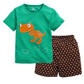 Green T-Shirt Dino Star Boys Shorts Summer Clothing Sets Baby Boy Pajamas Suit Cotton Children Outfits