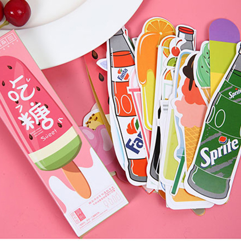 30 Pcs/box Dessert & Drink Paper Bookmark Stationery Bookmarks Book Holder Message Card School Supplies Free Shipping