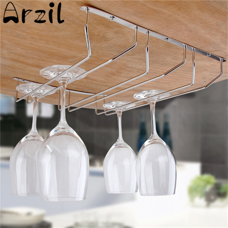 Metal Chrome Wine Glass Rack Holder Under Cabinet Stemware