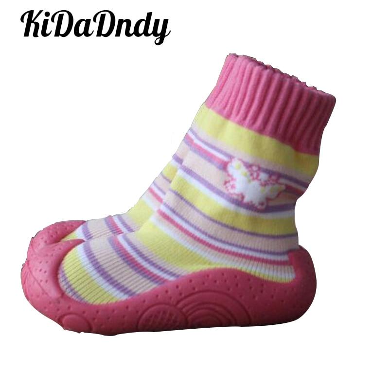 KiDaDndy Hart Peuter Schoenen Zachte Bodem Voor Pasgeboren Mode Babysokjes Met Rubberen Zolen Babysokjes met Rubberen Zolen Ws917