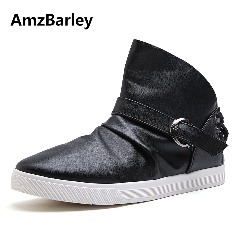 AmzBarley Men Shoes Flats Shoe PU Leather Footwear Lace Up High Top Casual Male Hip Hop Zapatillas Deportivas Hombre Fashion mycolen new autumn winter men black casual shoes men high tops fashion hip hop shoes zapatos de hombre leisure male botas