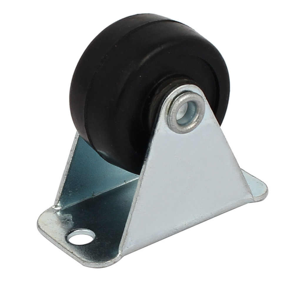 Prohex 4 Pcs 1-Inch Diameter Karet Tunggal Roda Rigid Non-Putar Pelat Atas Tetap Kastor untuk Kecil mesin Troli. hot Sale