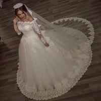 Роскошные Старинные Свадебные Платья Принцесса Кружева Alliques Свадебные Невесты Платья с вуалью robe de mariage Длинные Рукава с Плеча