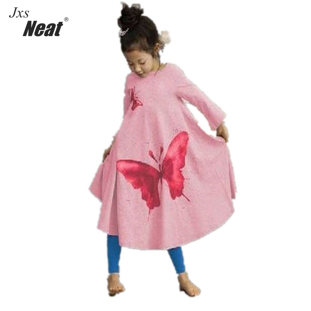 Retail Baby Girl Clothes Casual A-line kids dresses Full girl party dress Pretty Pattern girl dress children clothing A1030