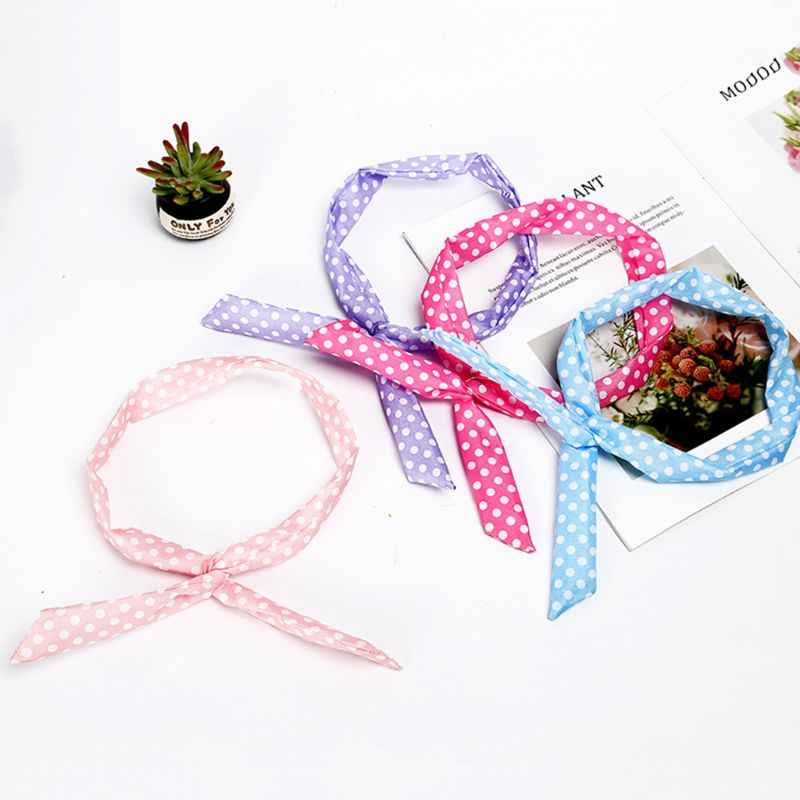 Women Girls Bohemian Long Rabbit Ears Iron Wired Hairband Sweet Candy Colored Paisley Floal Wave Point Printed Headband Elastic
