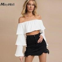 MayHall Autumn Long Flare Sleeve White Blouse Slash Neck Ladies Crop Top Sexy Short Shirt Women Tee blusa de frio feminina MH295