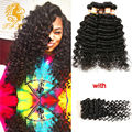 8A Brazilian Virgin Hair With Closure Deep Wave With Closure 3 Bundles With Closure Deep Curly Human Hair Bundles With Closure