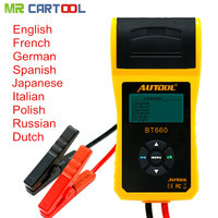 AUTOOL 12V Car Battery Load Tester with printer BT660/Multi language Digital automotive 2018 New Arrival Free Shipping
