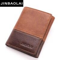 New 3 Fold Genuine Leather Men Wallet Small Men Walet Hasp Male Portomonee Short Card Holder