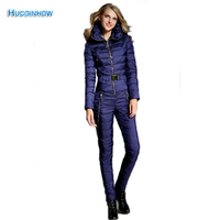 Warm Thicker White Duck Down Women Winter Ski Clothing Winter Thick Suit One Piece Skiing Jacket
