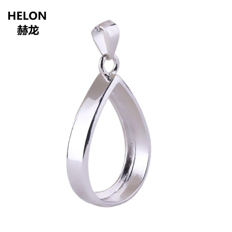 925 Sterling Silver Pendant 15x20mm Pear Cabochon Semi Mount Pendant White Gold Color Fine Jewelry Setting DIY Stone