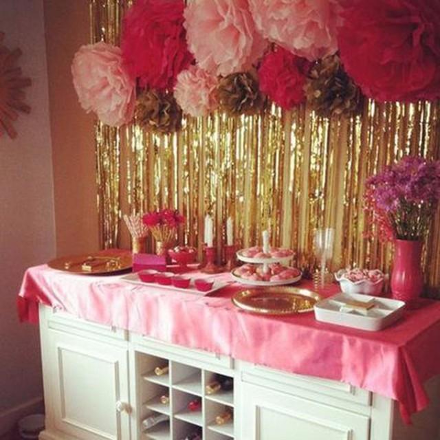 2mx1m Gold Foil Fringe Curtain Tinsel String Shiny Shimmer
