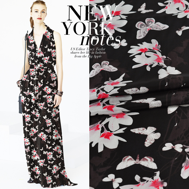 Orchidée papillons volant crêpe De Chine tissu en soie pour robe, chemise, jupe largeur 114 cm 12 MM