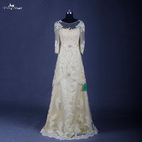 Long Sleeved Lace Bridesmaid Dress Real Sample Yellow Country Bridesmaid Dresses RSE630