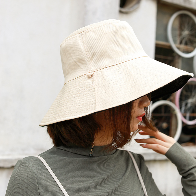 Fisherman Hat Lady Spring Summer Sunshade Double-sided Pure Color Cloth Cap Foldable Sun Hat Large Along Hat 7 Color Can Choose