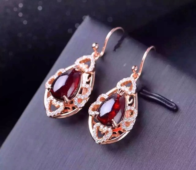 natural red garnet stone drop earrings 925 silver Natural gemstone drop earring women personality drop Earrings for anniversary