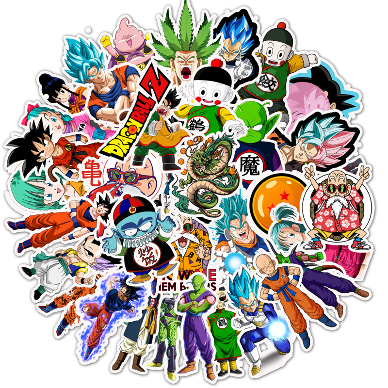 50Pcs Dragon Ball Stickers Super Saiyan Goku Sticker Decal For Luggage Snowboard  Car Fridge Car- Styling Laptop Stickers