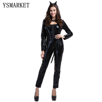 2017 Black Cat Costume Sexy Costume Leopard Animal Cosplay Woman Halloween Black Cat Women Leotards Sexy