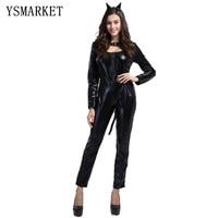 2017 Black Cat Costume Sexy Costume Leopard Animal Cosplay Woman Halloween Black Cat Women Leotards Sexy