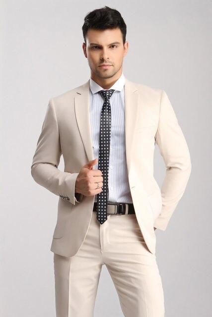 Custom Made Measure Men S Slim Fit Wedding Suits Groom Tuxedos Groomsmen Formal Best Man Cream Suit
