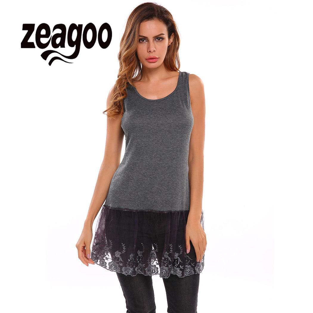 zeagoo Neck Casual Sleeveless O Women Pullover Vest   Tank     Top   Lace Patchwork Shirt Extender