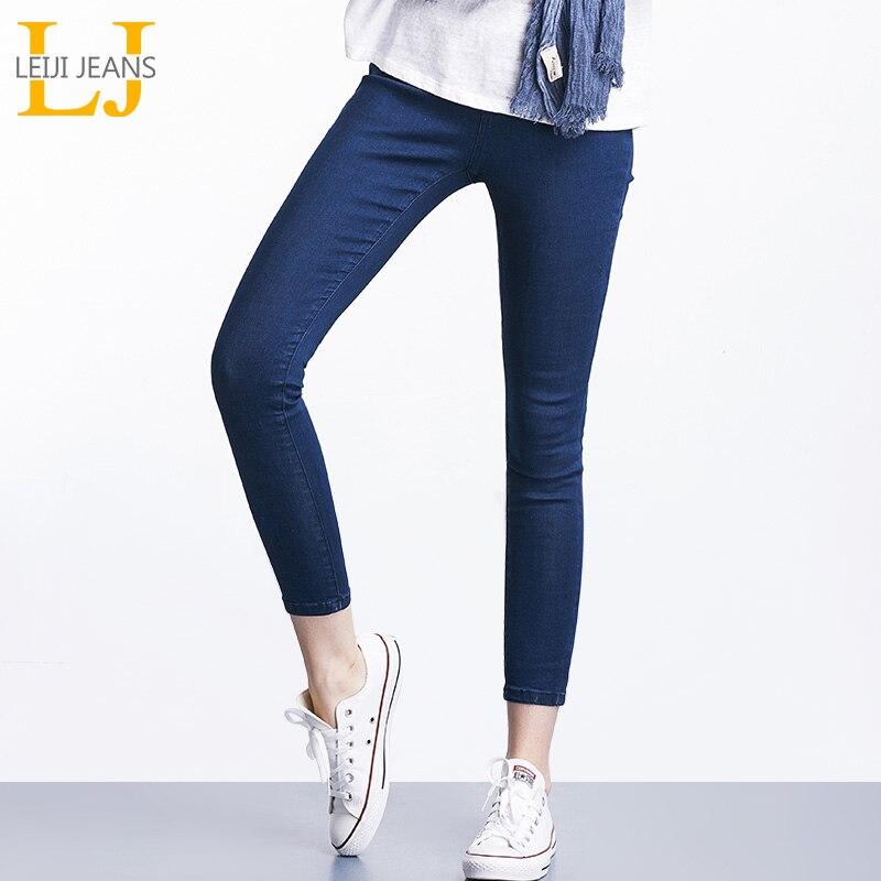 2018 LEIJIJEANS Printemps Et D'été Plus La Taille Solide 3 Couleur Mi Taille Élastique Cheville Longueur Femmes Maigre Crayon Stretch Bien jeans