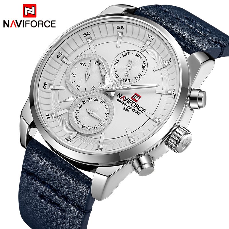 Man Waterproof Leather Sport Wrist Watch 24 Hour Date Quartz Leisure Clock