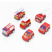 6Psc/Set Cartoon Mini Inertia Pull Back Move Forward Automatically Car Construction Vehicle Fire truck Model Gift Children Toys