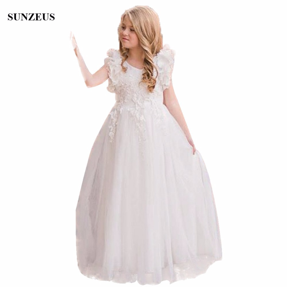 Appliques Tulle Long   Flower     Girls     Dresses   A-line Tank Ruffles Children Party Gowns For Wedding FLG002