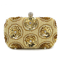 Women Plastic Stone Beaded Pearl Rivets Chains Metal Gold Evening Clutch Bag Mini Wedding Party Prom