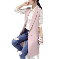 Elegant Fashion Pink Women 'S Vest Spring High Quality Long Slim Female Vest Winter Women Black Sleeveless Cardigan Waistcoat