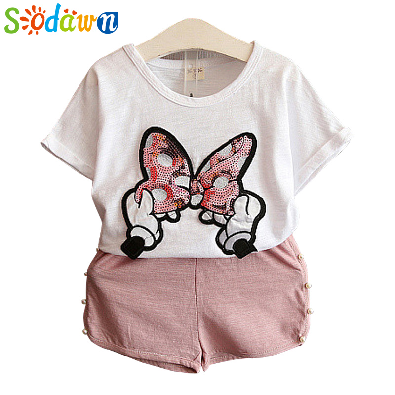 Sodawn baby girls clothes kids set fashion Bow short sleeve T-shirt +pant Baby girls clothing set kids cartoon clothes set