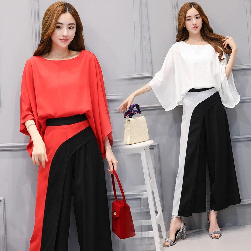 A Lady Loose Chiffon Plus Size Summer Clothing Set New Women Korea Fashion Suits Bat Sleeve Blouse Wide-Legged Pants Big S-XXL meifeier 407 women s fashionable knitted chiffon blouse apricot l