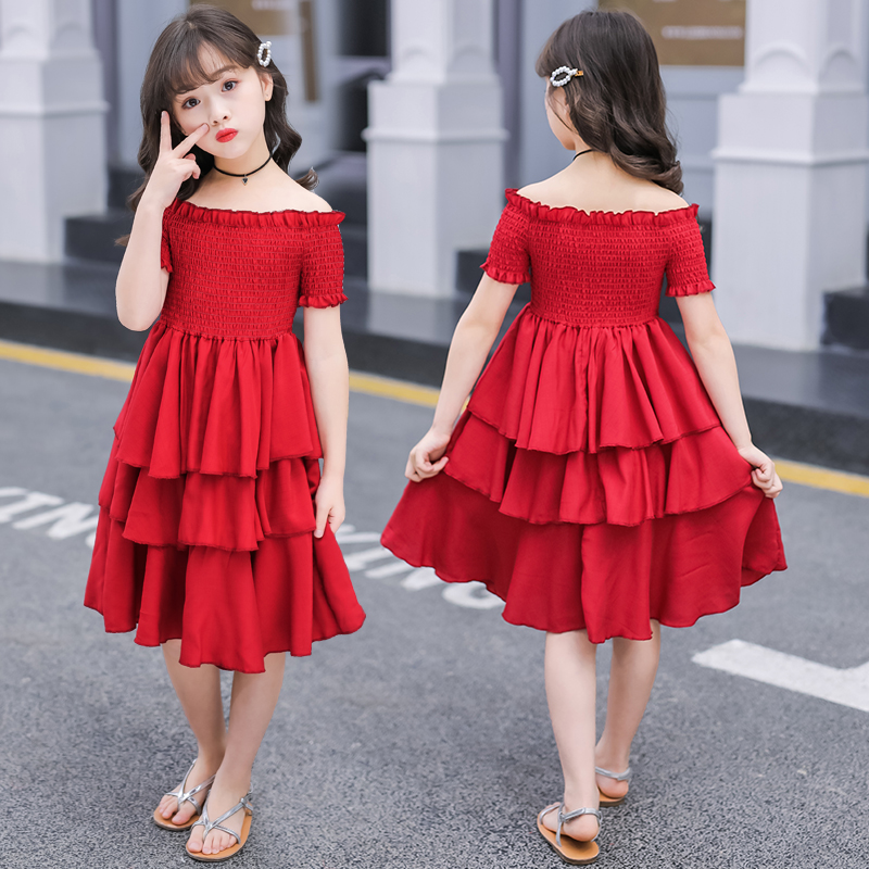 Image 3 - girls summer dress red cake tiered chiffon kids party dresses for girls birthday short sleeve 4 6 8 10 12 Y children clothesDresses   -
