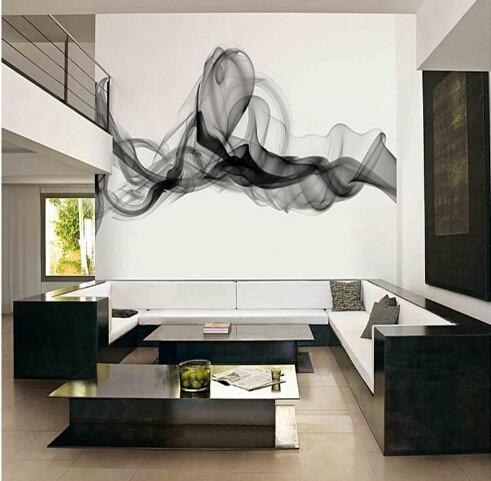 Custom Photo Wallpaper Modern 3D Wall Mural Black White Smoke Fog Art Design Bedroom Office Living Room Paper
