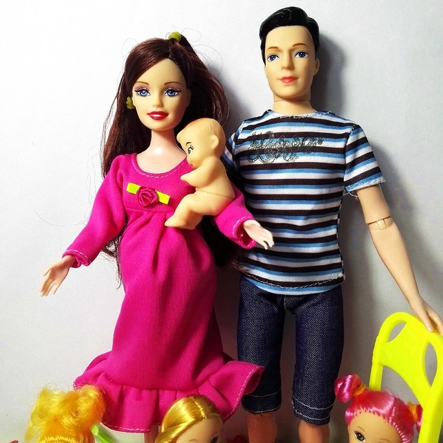 New 6 people Educational Real Pregnant Doll Mom Dad kelly/1 Baby Son Carriage Girls Toys Best Gift happy family for barbie doll