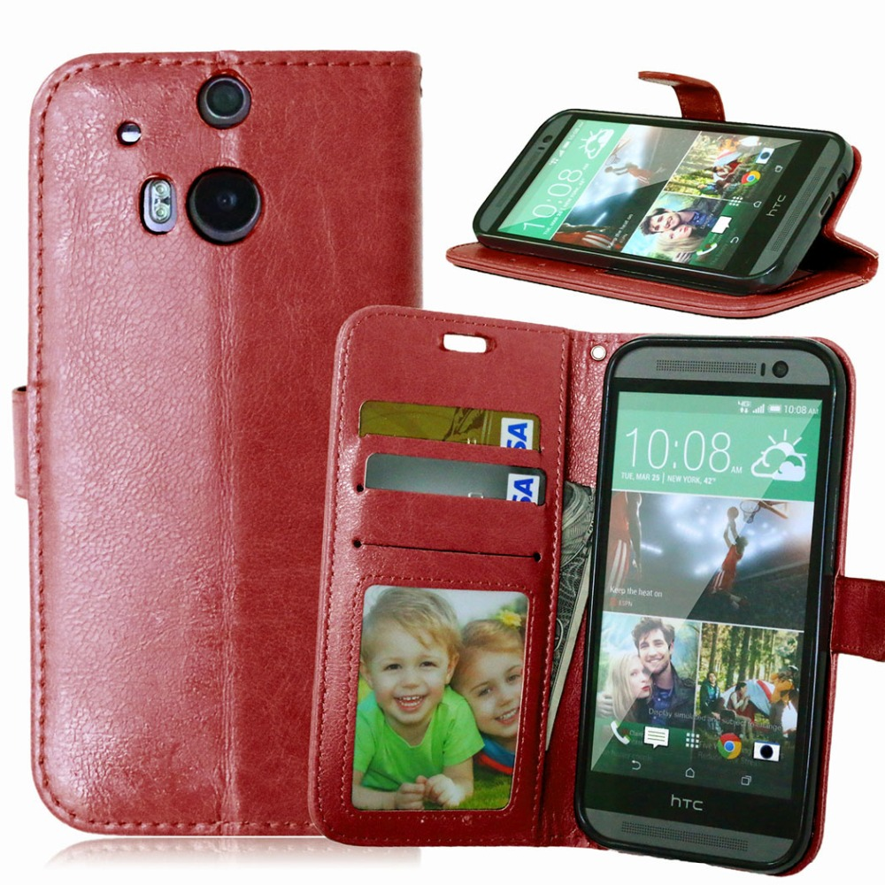 Top Quality Luxury PU Leather Case For HTC One <font><b>M8</b></font> Mobile <font><b>Phone</b></font> Bag Wallet Stand With Card Holder Flip Cover For HTC One M 8